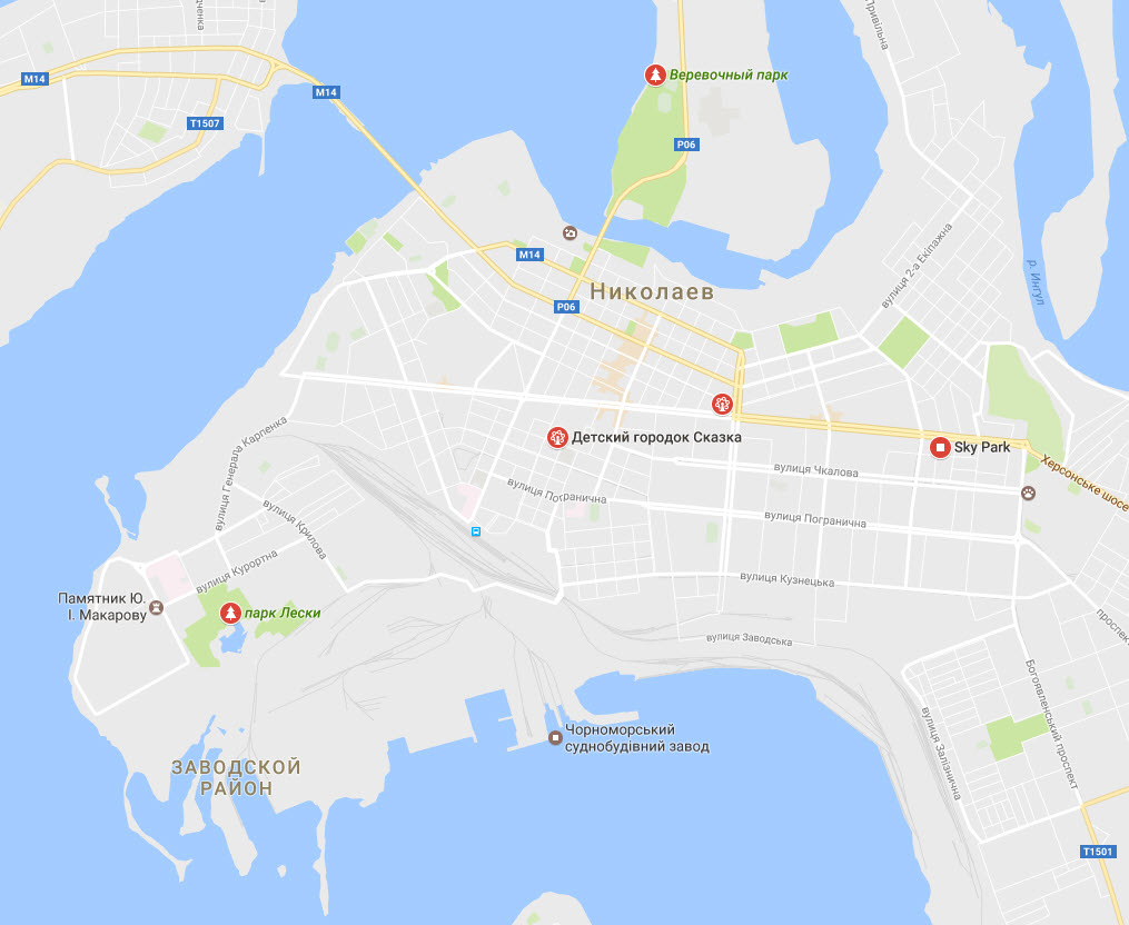 карта Парки аттракционов в Николаеве